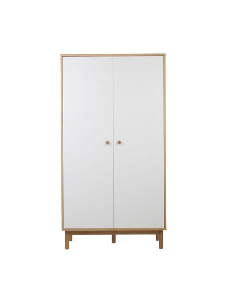 Armadio bianco Nathan, Bianco, Larg. 100 x Alt. 186 cm
