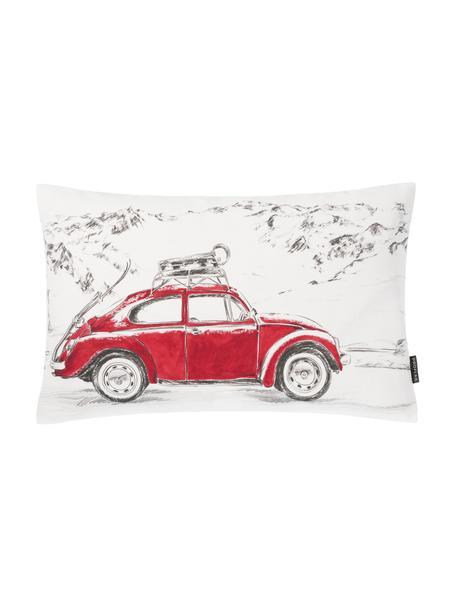 Kissenhülle Dodo mit Auto-Motiv in Weiß/Rot, 100% Baumwolle, Weiß, Rot, Grau, 30 x 50 cm
