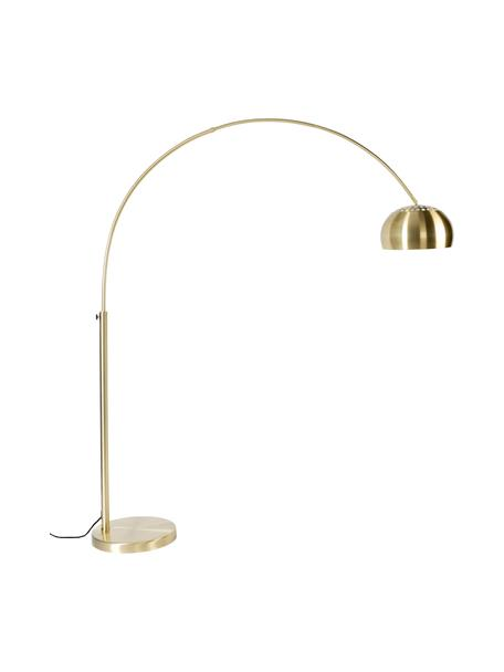 Große Bogenlampe Metal Bow in Gold, Lampenschirm: Metall, vermessingt, Gestell: Metall, vermessingt, Lampenfuß: Stein mit vermessingter M, Messingfarben, 170 x 205 cm