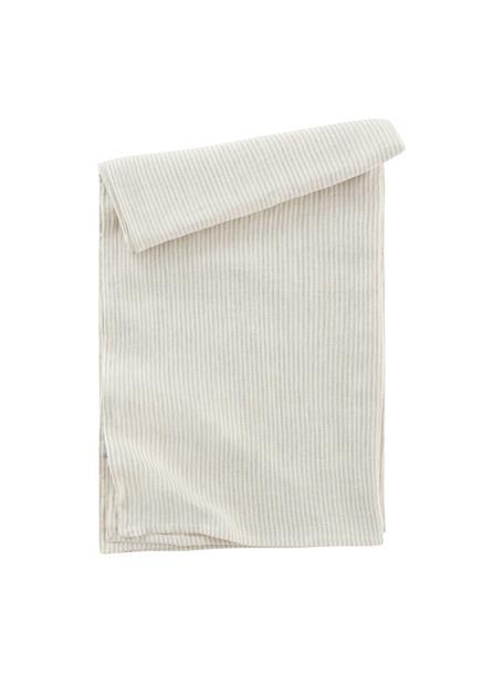 Gestreept linnen tafelkleed Alina in beige/crèmewit, 100% linnen, European Flax gecertificeerd, Beige, crèmewit, Voor 4 - 6 personen (B 145 x L 200 cm)