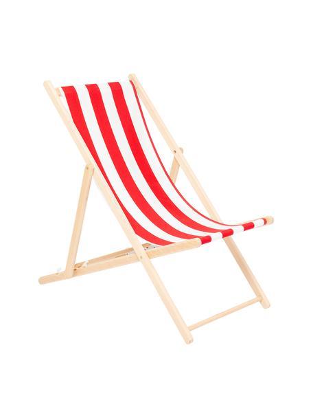 Leżak składany Hot Summer, Stelaż: drewno bukowe, Czerwony, biały, drewno bukowe, S 96 x G 56 cm