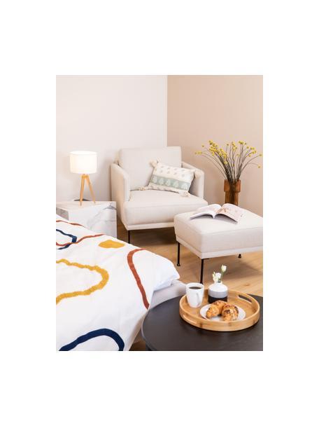 Poggiapiedi da divano in tessuto beige Fluente, Rivestimento: 80% poliestere, 20% ramiè, Struttura: legno di pino massiccio, Piedini: metallo verniciato a polv, Tessuto beige, Larg. 62 x Alt. 46 cm