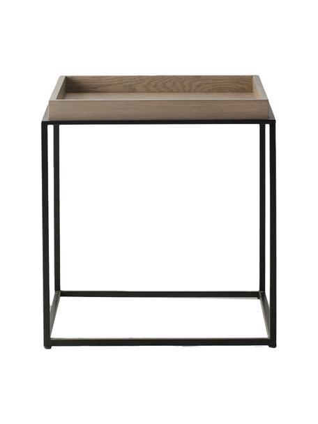 Bijzettafel Forden van hout en metaal in bruin/zwart, Tafelblad: MDF, fineer, Frame: gelakt metaal, Bruin, 55 x 60 cm