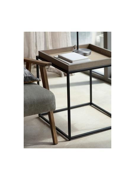 Bijzettafel Forden van hout en metaal, Tafelblad: MDF, fineer, Frame: gelakt metaal, Bruin, 55 x 60 cm
