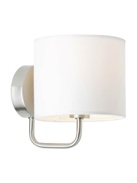 Wandlamp Clarie in chroom, Lampenkap: 60% katoen, 40% linnen, Chroomkleurig, wit, 15 x 18 cm