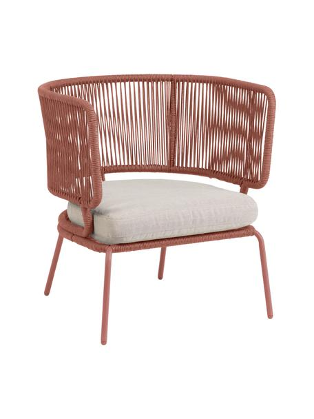 Tuin loungefauteuil Abeli, Frame: verzinkt metaal en gelakt, Bekleding: polyester, Roze, 74 x 65 cm