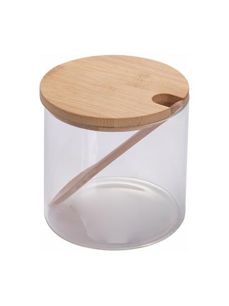 Suikerpot Len met lepel, Pot: borosilicaatglas, Transparant, lichtbruin, Ø 10 x H 10 cm