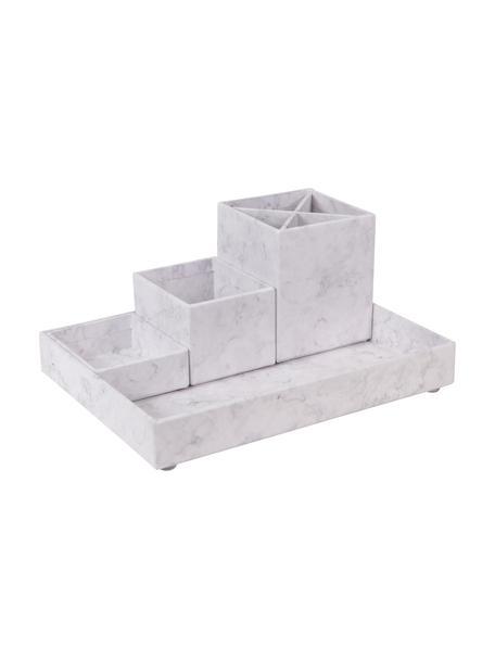 Bureau organizerset Lena, 4-delig, Massief, gelamineerd karton, Gemarmerd wit, Set met verschillende formaten