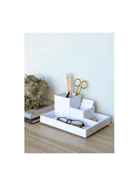 Set de organizadores de escritorio Lena, 4pzas., Cartón laminado macizo, Mármol blanco, Set de diferentes tamaños
