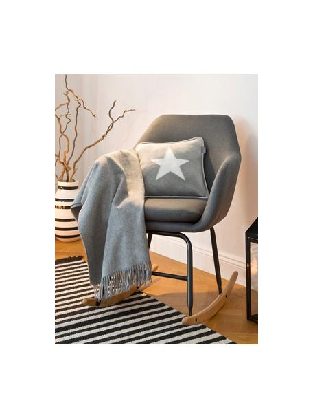 Sedia a dondolo in tessuto grigio scuro Emilia, Rivestimento: 90% poliestere, 8% viscos, Gambe: metallo verniciato a polv, Tessuto grigio scuro, Larg. 57 x Alt. 69 cm
