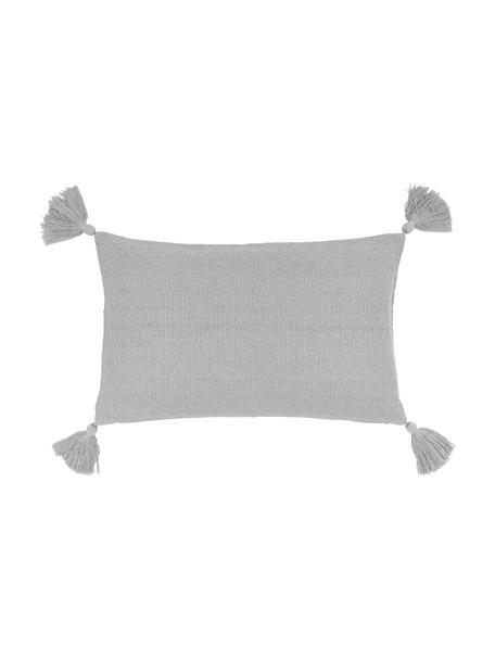 Federa arredo color grigio chiaro con nappe decorative Lori, 100% cotone, Grigio, Larg. 30 x Lung. 50 cm