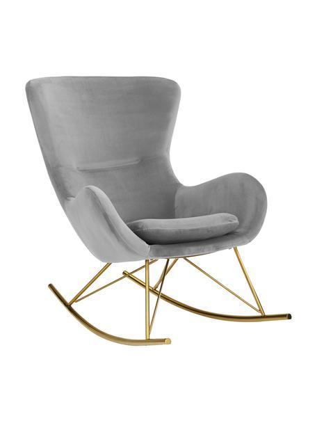 Fluwelen schommelstoel Wing in grijs met metalen poten, Bekleding: fluweel (polyester), Frame: gegalvaniseerd metaal, Fluweel grijs, goudkleurig, B 76 x D 108 cm