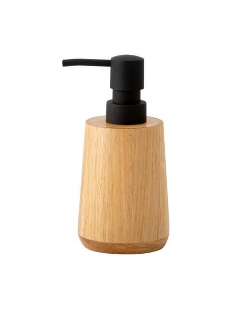 Dosificador de jabón Battersea, Recipiente: madera de roble, Dosificador: plástico, Roble, negro, Ø 8 x Al 17 cm