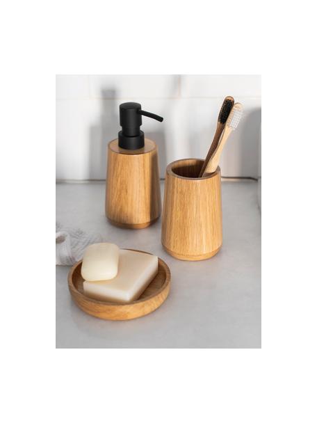 Dispenser sapone Battersea, Contenitore: legno di quercia, Testa della pompa: materiale sintetico, Legno di quercia, nero, Ø 8 x Alt. 17 cm