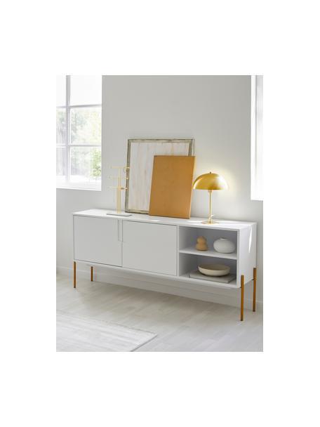 Sideboard Jesper mit Türen in Weiss, Korpus: Mitteldichte Holzfaserpla, Korpus: Weiss Füsse: Goldfarben, glänzend, 160 x 80 cm
