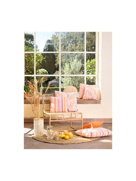 Gestreifte Outdoor-Kissenhülle Marbella, 100% Dralon® Polyacryl, Orange, Weiss, Rosatöne, 40 x 40 cm