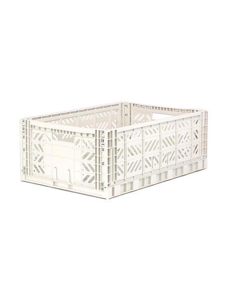 Cestino impilabile e pieghevole Coconut, Materiale sintetico riciclato, Bianco latteo, Larg. 60 x Alt. 22 cm