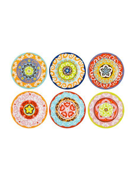 Bunt gemusterte Frühstücksteller Nador mit buntem Muster, 6er-Set, Steingut, Mehrfarbig, Ø 21  cm