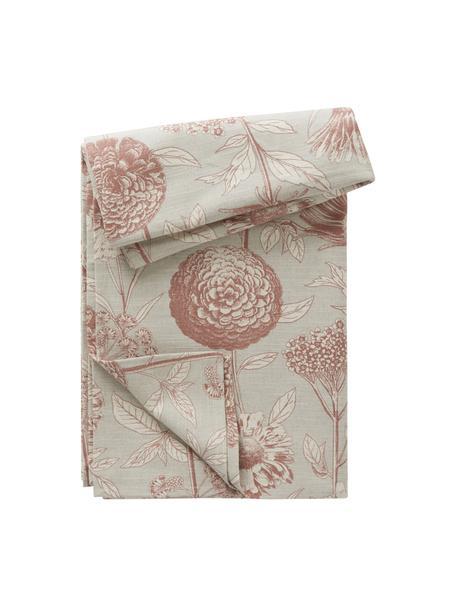 Tovaglia con motivo floreale Freya, 86% cotone, 14% lino, Beige, rosso, Per 6-10 persone (Larg. 145 x Lung. 250 cm)