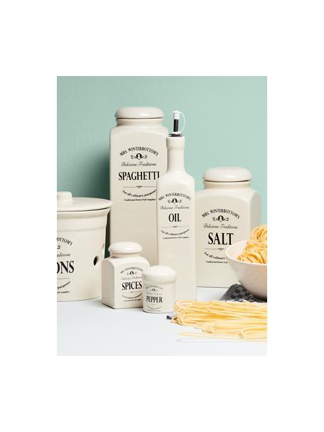 Aufbewahrungsdose Mrs Winterbottoms Salt, Ø 11 x H 21 cm, Steingut, Creme, Schwarz, Ø 11 x H 21 cm