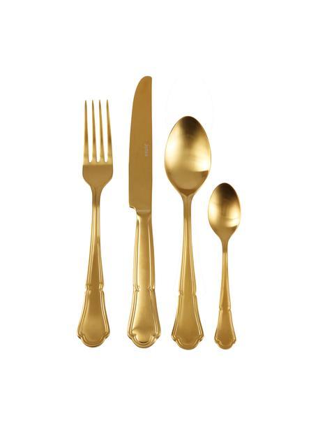 Komplet sztućców ze stali szlachetnej Bite, 24 elem., Stal szlachetna, Odcienie złotego, Komplet z różnymi rozmiarami