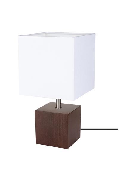 Lampada da tavolo con base in legno di faggio Trongo, Paralume: tessuto, Base della lampada: legno di faggio oliato, Bianco, marrone scuro, Larg. 15 x Alt. 30 cm