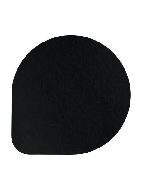 Kunstleren placemats Povac, 2 stuks, Kunstleer (PVC), Zwart, Ø 37 cm