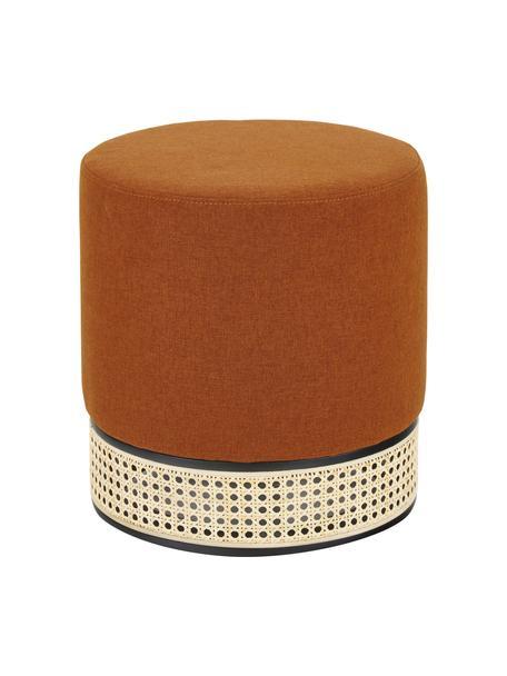 Pouf color terracotta con intreccio viennese Mara, Rivestimento: poliestere Il rivestiment, Struttura: compensato, Tessuto color terracotta, Ø 37 x Alt. 39 cm
