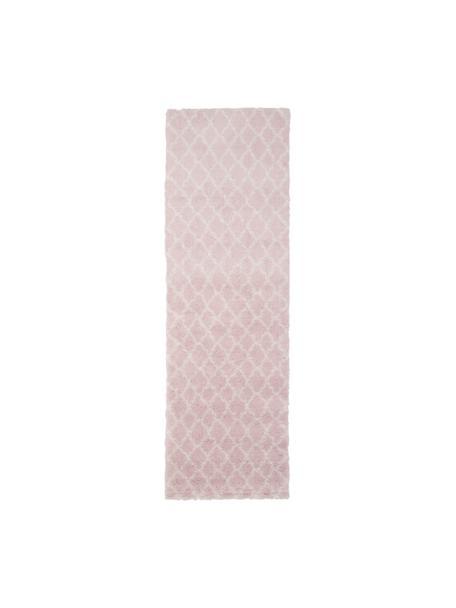 Passatoia a pelo lungo rosa cipria/crema Mona, Retro: 78% juta, 14% cotone, 8% , Rosa cipria, bianco crema, Larg. 80 x Lung. 250 cm