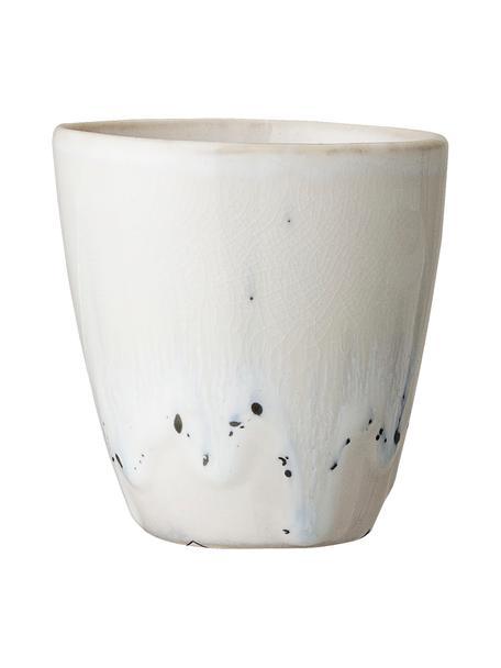 Tazza senza manico in gres fatta a mano Heather 2 pz, Gres, Bianco, blu, Ø 7 x Alt. 8 cm