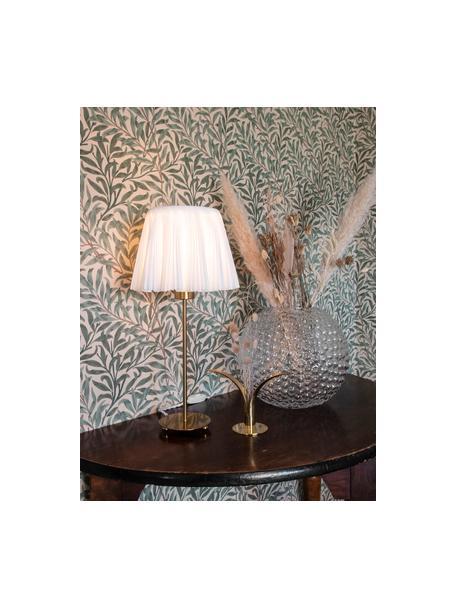 Große Tischlampe Edith aus Faltenstoff, Lampenschirm: Baumwolle, Lampenfuß: Metall, Offwhite, Messingfarben, Ø 20 x H 50 cm