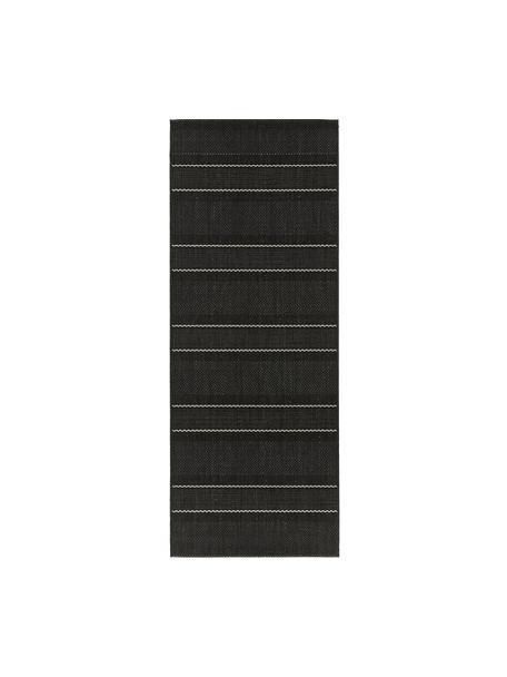 In- & outdoor loper Sunshine in zwart, Zwart, crèmekleurig, 80 x 200 cm