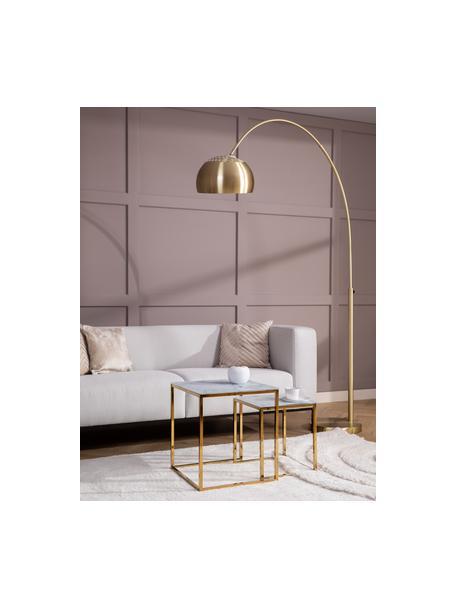 Beistelltisch-Set Aruba mit marmorierter Glasplatte, 2-tlg., Tischplatte: Glas, Gestell: Metall, beschichtet, Tischplatte bedrucktes Glas:Matt Weiß, marmoriertGestell: Goldfarben, Sondergrößen