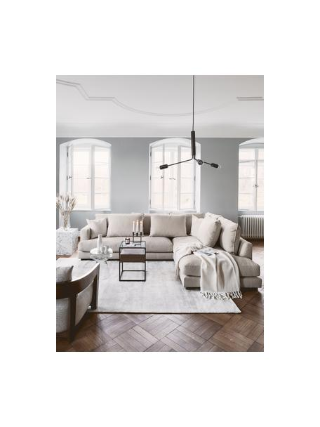 Grote hoekbank Tribeca  in donkerbeige, Bekleding: 100% polyester, Frame: massief beukenhout, Poten: massief gelakt beukenhout, Stof donker beige, B 274 x D 192 cm
