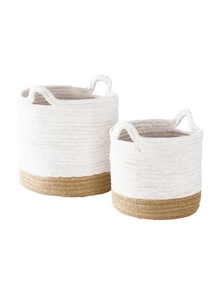Cestas de almacenamiento Salle, 2uds., 60%algodón, 40%yute, Blanco, beige, Set de diferentes tamaños