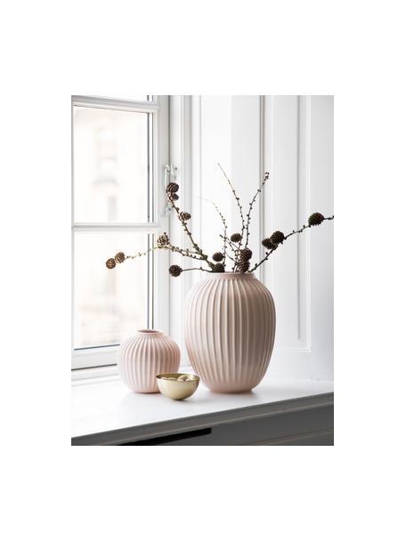 Kleine handgefertigte Design-Vase Hammershøi, Porzellan, Rosa, Ø 14 x H 13 cm