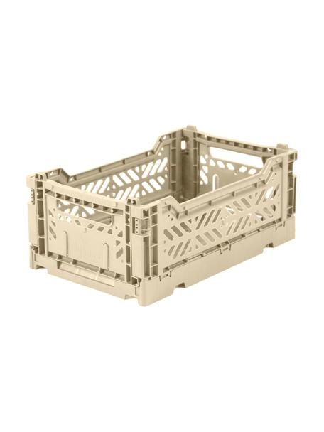 Caja plegable apilable Boulder, pequeña, Plástico reciclado, Beige, An 27 x Al 11 cm