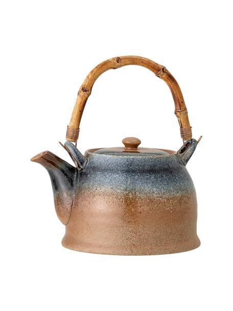 Teiera artigianale con filtro e manico in bambù Aura, 1 L, Teiera: porcellana, Manico: bambù, Tonalità beige e blu, 1 L