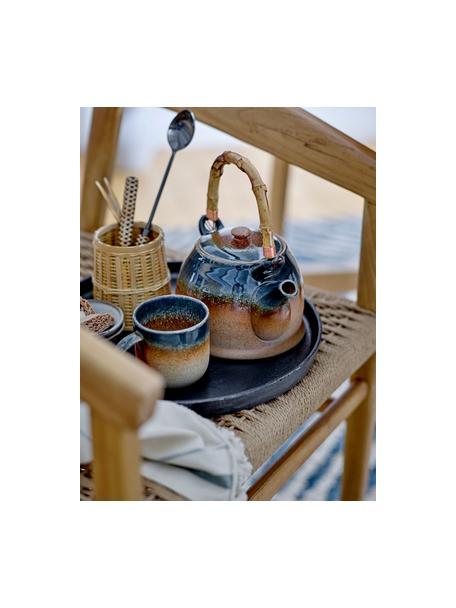 Handgemaakte porseleinentheepot Aura met theezeef en bamboe handgreep, 1 L, Pot: porselein, Beige- en blauwtinten, 1 L