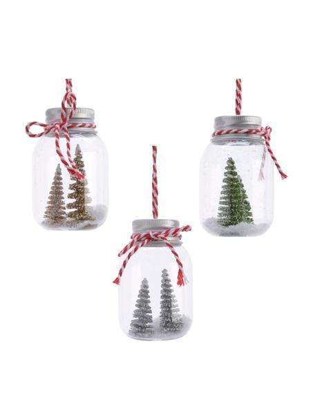 Adornos navideños Glassa, 3uds., Adornos: vidrio, Transparente, verde, rojo, blanco, Ø 4 x Al 7 cm