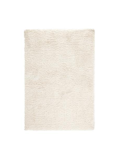 Zacht hoogpolig vloerkleed Venice in crèmekleur, Bovenzijde: 100% polypropyleen, Onderzijde: jute, Crèmekleurig, B 80 x L 150 cm (maat XS)