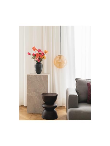 Beistelltisch Benno aus Mangoholz in Braun, Massives Mangoholz, lackiert, Dunkelbraun, Ø 35 x H 50 cm