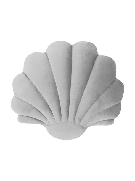 Cuscino in velluto grigio chiaro Shell, Retro: 100% poliestere, Grigio chiaro, Larg. 32 x Lung. 27 cm