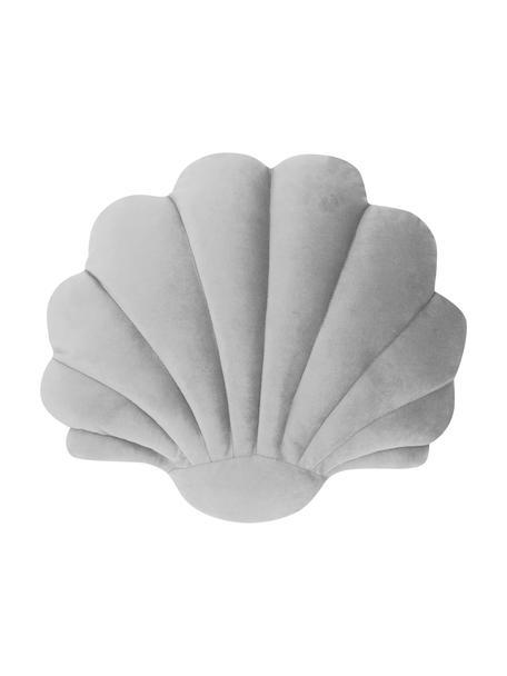 Samt-Kissen Shell in Muschelform, Vorderseite: 100% Polyestersamt, Rückseite: 100% Polyester, Hellgrau, 32 x 27 cm