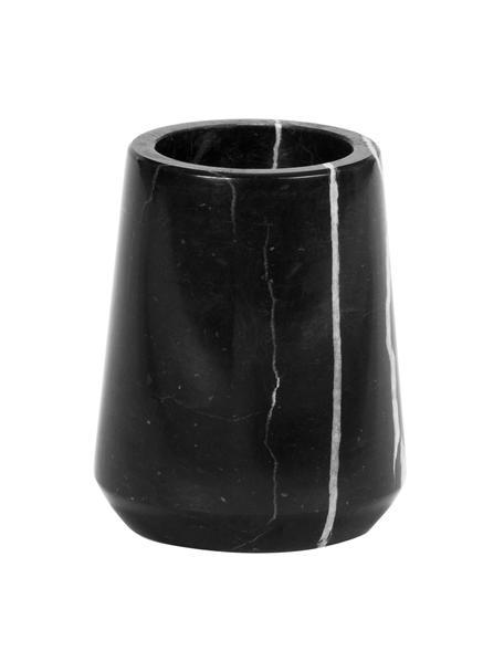Kubek na szczoteczki z marmuru Lux, Marmur, Czarny, Ø 7 x W 9 cm