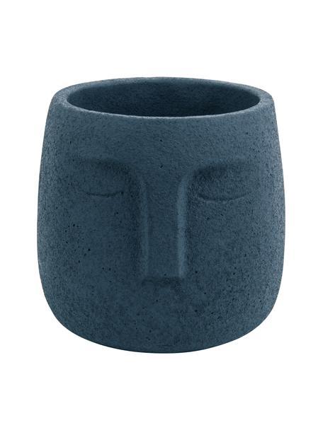 Pequeño macetero Face, Gris cemento, Azul oscuro, Ø 13 x Al 14 cm