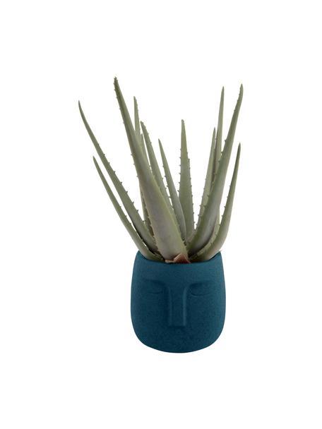 Portavaso viso piccolo in cemento Face, Cemento, Blu scuro, Ø 13 x Alt. 14 cm