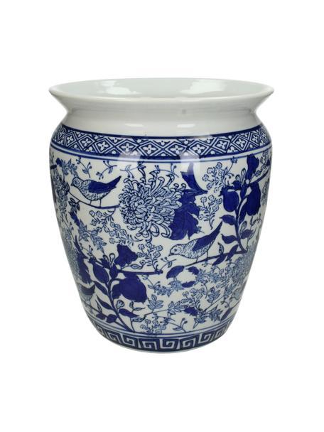 Macetero grande de porcelana Birds, Porcelana, Azul, blanco, Ø 25 x Al 28 cm