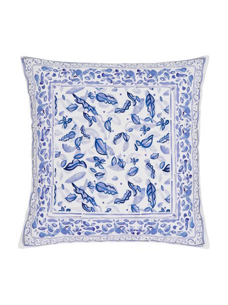 Gemusterte Kissenhülle Tavira, 100% Baumwolle, Beige, Blau, 45 x 45 cm