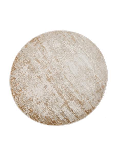 Rond vintage vloerkleed Cordoba in beigetinten, glinsterend, Bovenzijde: 70% acryl, 30% viscose, Onderzijde: polyester, Beigetinten, Ø 150 cm (maat M)